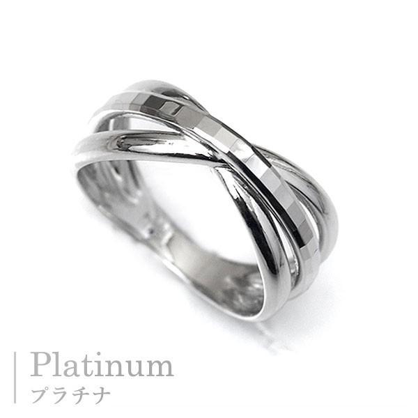 指輪 プラチナリング カット加工 キラキラ 多面 カットリング クロス リボン デザイン リング Pt900|pendant