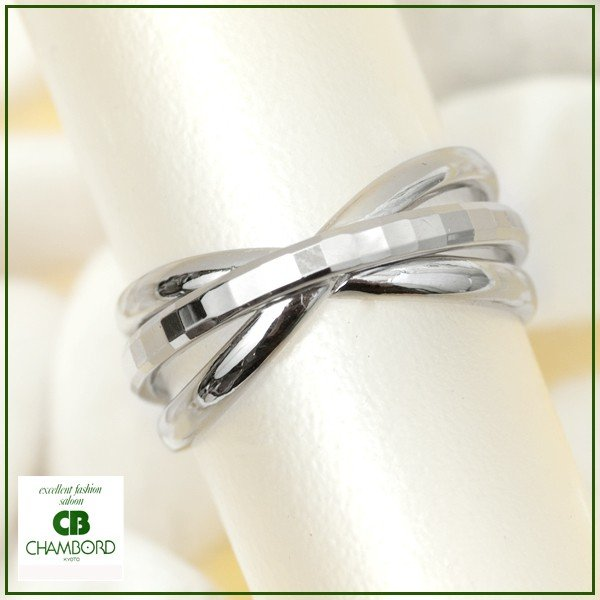 指輪 プラチナリング カット加工 キラキラ 多面 カットリング クロス リボン デザイン リング Pt900|pendant|02