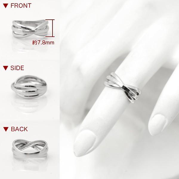 指輪 プラチナリング カット加工 キラキラ 多面 カットリング クロス リボン デザイン リング Pt900|pendant|03