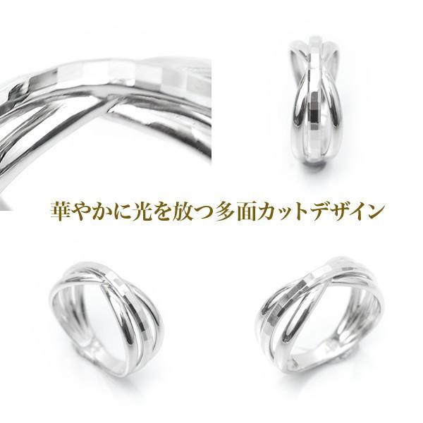 指輪 プラチナリング カット加工 キラキラ 多面 カットリング クロス リボン デザイン リング Pt900|pendant|04