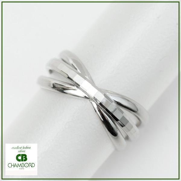 指輪 プラチナリング カット加工 キラキラ 多面 カットリング クロス リボン デザイン リング Pt900|pendant|05