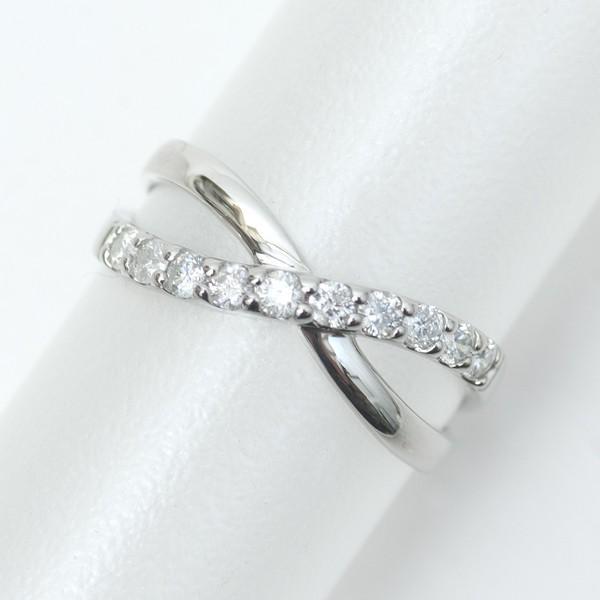 結婚 10周年 記念日 天然 ダイヤモンド リング プラチナ 指輪 Pt900/D:0.30ct 宝石鑑別書付き ウェーブ クロス スイートテン|pendant|04