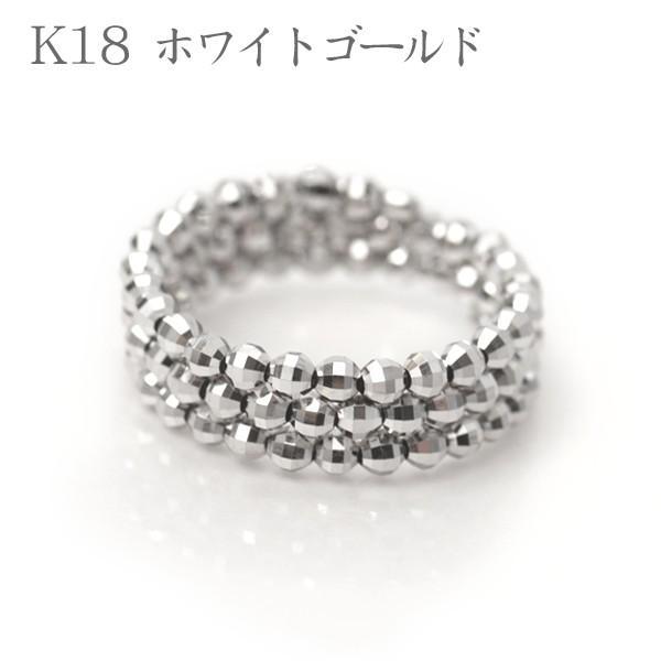 18金 リング 形状記憶 K18 指輪 フリーサイズ ミラーボール コイルリング K18WG /PG /K18MIXカラー|pendant|02