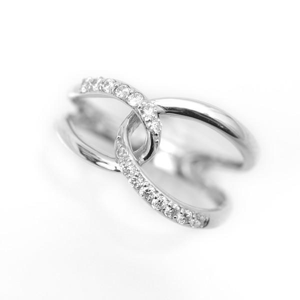 ダイヤモンド リング スタイリッシュ ウェーブ 指輪 K18WG/D:0.20ct|pendant|05