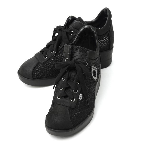 ルコライン スニーカー アージレ agile RUCO LINE 靴 DALIDA NET デザイン メッシュ 黒 /本革 マットブラック  サイドファスナー付 agile-169BK pendant
