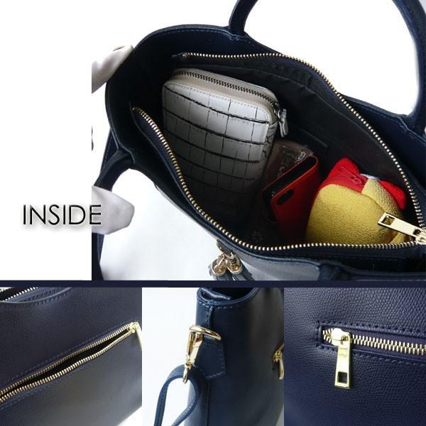 イタリア製 バッグ イタリアンカーフ タッセル付 2Way ハンドバッグ & ショルダーバッグ ネイビー|pendant|03
