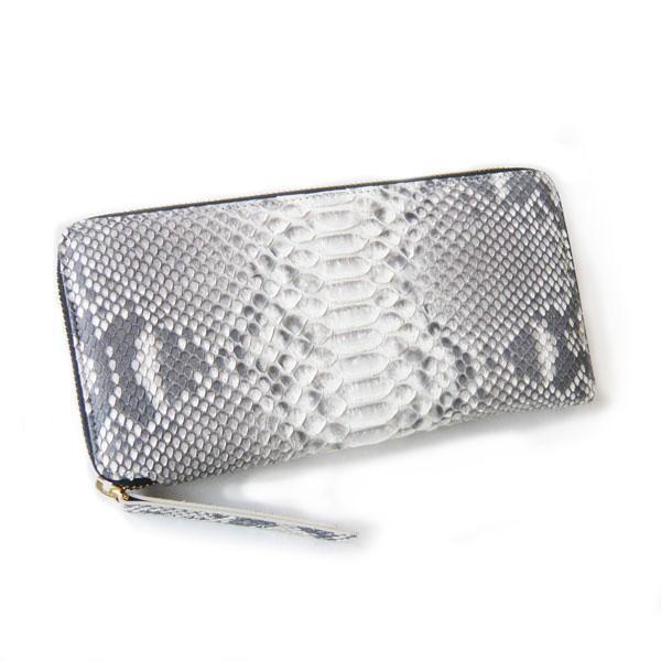 パイソン 財布 ラウンドファスナー Lサイズ 大きい財布 手帳型 ペン差し付き ナチュラルカラー|pendant|05