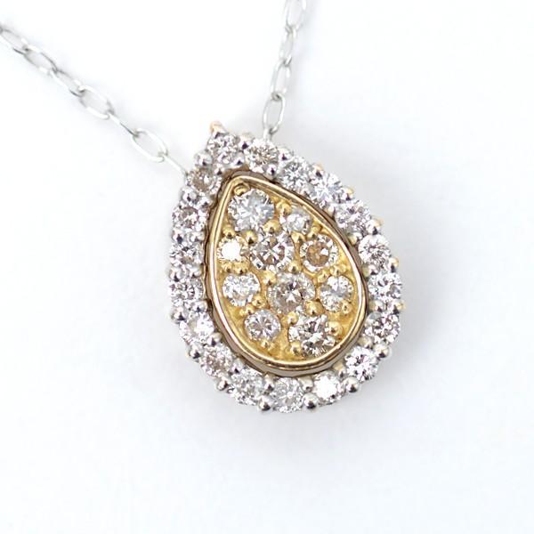 ダイヤモンド ネックレス 3WAY ペンダント しずく形 D:0.15ct/0.10ct K18WG & K18YG|pendant|03