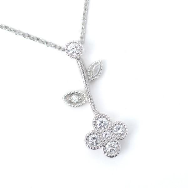 ダイヤモンド フラワー ギフト ダイヤモンド ネックレス プラチナ 花形 ペンダント Pt 0.18ct|pendant|03