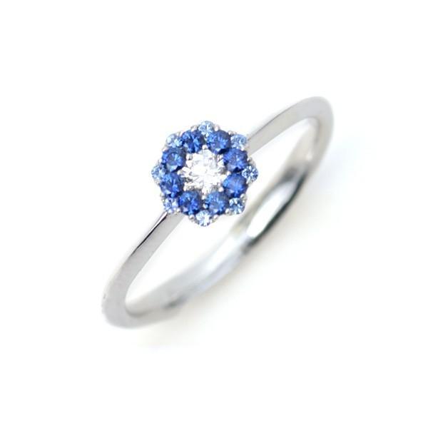 グラデーションカラー ブルー サファイア ダイヤモンドリング フラワーデザイン 指輪 K18WG 9月誕生石  S:0.13ct D:0.09ct|pendant|05