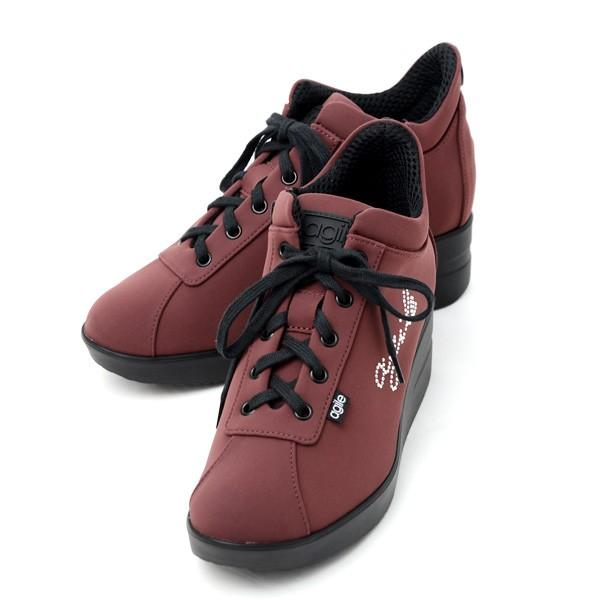 ルコライン 靴 アージレ agile by RUCO LINE WRITTEN LYCRA アージレロゴ ラインストーン付き 生地/ワイン色 サイドファスナー付 agile-177WI|pendant