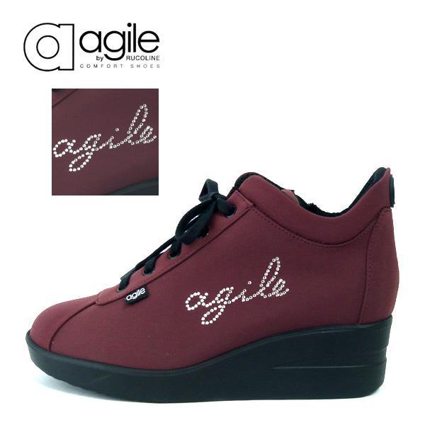 ルコライン 靴 アージレ agile by RUCO LINE WRITTEN LYCRA アージレロゴ ラインストーン付き 生地/ワイン色 サイドファスナー付 agile-177WI|pendant|02