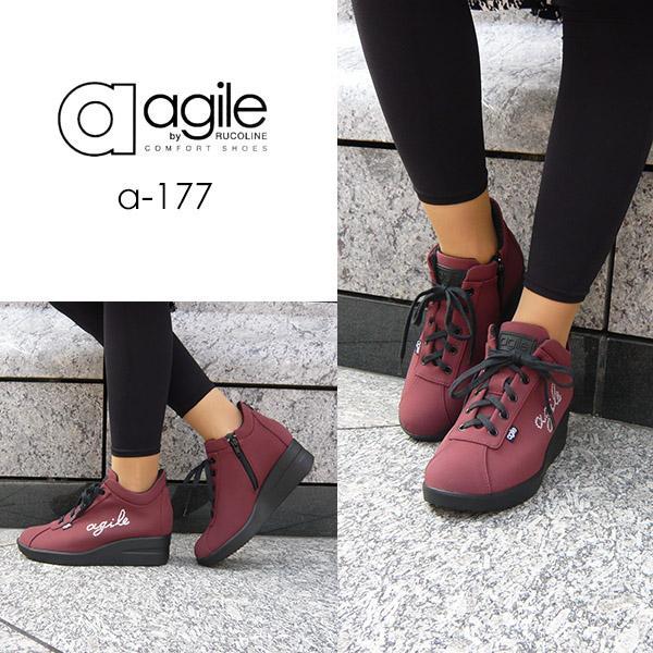 ルコライン 靴 アージレ agile by RUCO LINE WRITTEN LYCRA アージレロゴ ラインストーン付き 生地/ワイン色 サイドファスナー付 agile-177WI|pendant|05