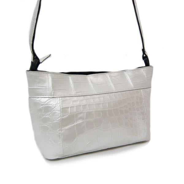 クロコダイル バッグ ショルダーバッグ パールホワイト クロコ本革 白 日本製 JRAマーク|pendant