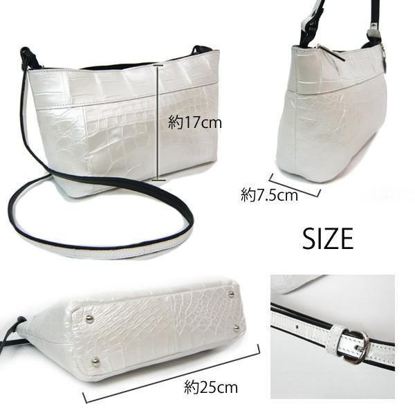 クロコダイル バッグ ショルダーバッグ パールホワイト クロコ本革 白 日本製 JRAマーク|pendant|02
