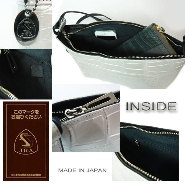 クロコダイル バッグ ショルダーバッグ パールホワイト クロコ本革 白 日本製 JRAマーク|pendant|03