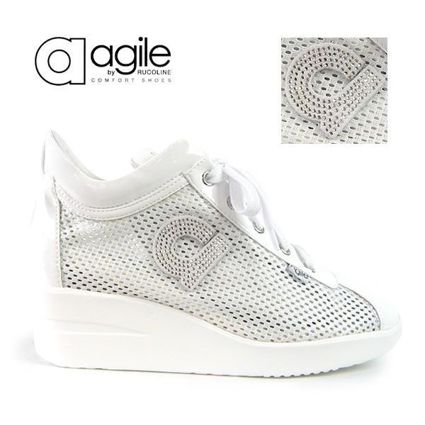 ルコライン スニーカー アージレ 靴 メッシュ ホワイト 白 CHAMBERS STRASS agile-180WH|pendant