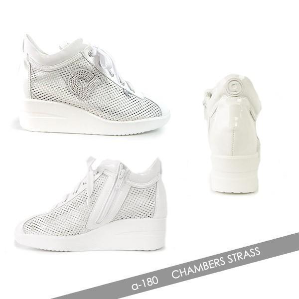 ルコライン スニーカー アージレ 靴 メッシュ ホワイト 白 CHAMBERS STRASS agile-180WH|pendant|02