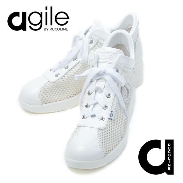 ルコライン スニーカー アージレ 靴 メッシュ ホワイト 白 CHAMBERS STRASS agile-180WH|pendant|08