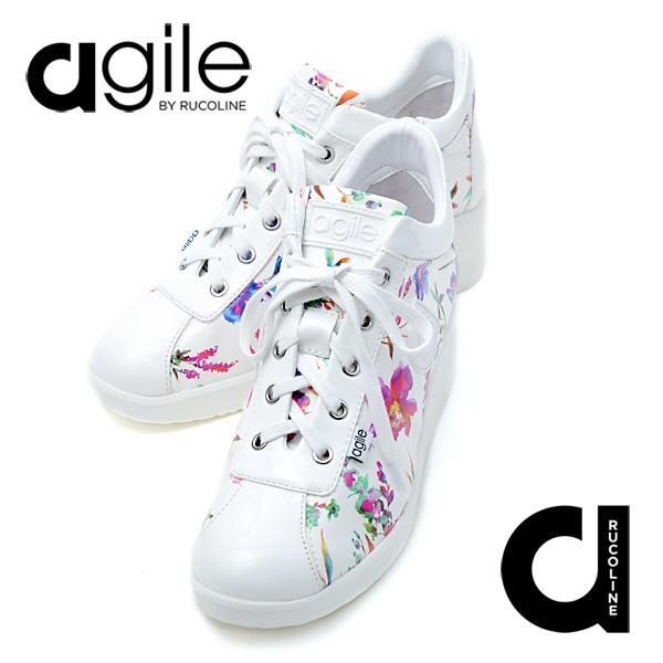 ルコライン 靴 アージレ agile by RUCO LINE MUST LUX エナメル調 無地×花柄 ファスナー付 白ホワイト フラワー agile-181WH|pendant|08