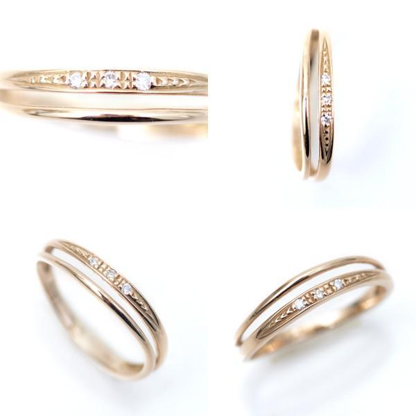 ピンキーリング ピンクゴールド 18金 リング 2連調ウェーブ デザイン 18k ダイヤモンド ラッキーリング お守り 小指用 小さいサイズ 指輪 pendant 04