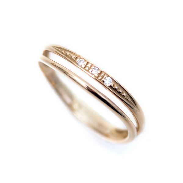 ピンキーリング ピンクゴールド 18金 リング 2連調ウェーブ デザイン 18k ダイヤモンド ラッキーリング お守り 小指用 小さいサイズ 指輪 pendant 05