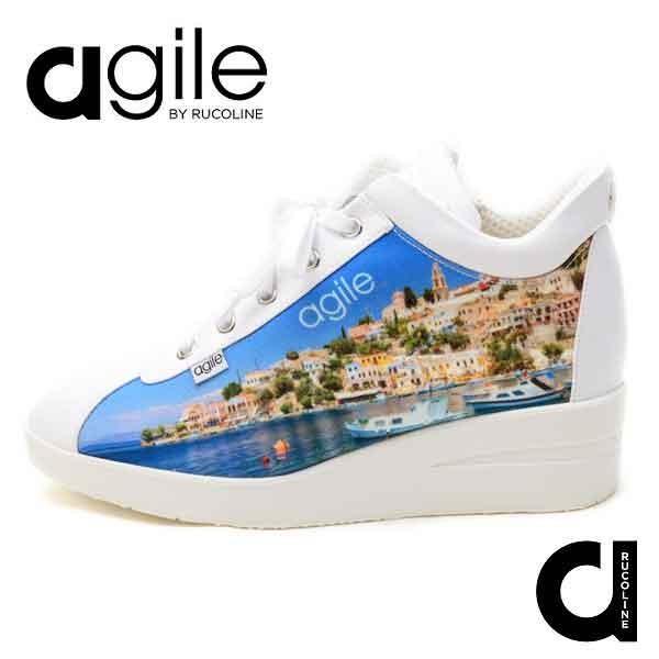 ルコライン 靴 アージレ バイ ルコライン スニーカーagile-195BL CANVAS MARINA 風景画プリント サイドファスナー付き agile by RUCO LINE|pendant