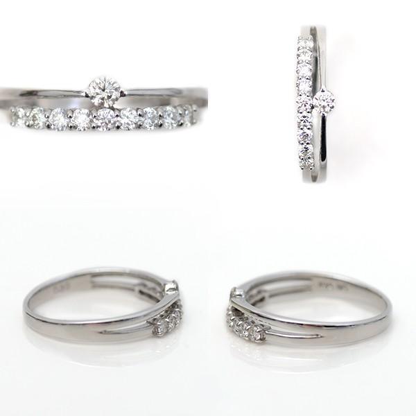 結婚 10周年 記念日 天然 ダイヤモンド リング 指輪 18金ホワイトゴールド 2連リング調 デザイン K18WG 0.30ct スイートテン 受注生産 納期約4週間|pendant|03
