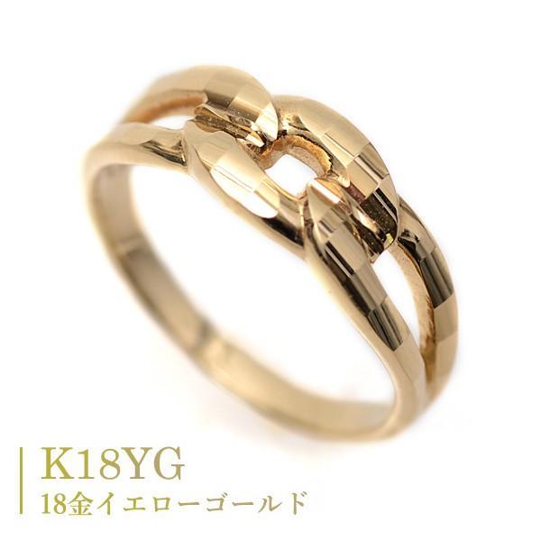 18金 リング 指輪 k18リング 18金ゴールドリング キラキラ 多面カット 鎖 デザイン K18YG 18金イエローゴールド ファッションリング|pendant