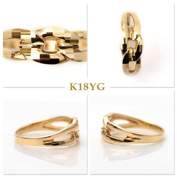 18金 リング 指輪 k18リング 18金ゴールドリング キラキラ 多面カット 鎖 デザイン K18YG 18金イエローゴールド ファッションリング|pendant|03