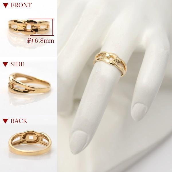 18金 リング 指輪 k18リング 18金ゴールドリング キラキラ 多面カット 鎖 デザイン K18YG 18金イエローゴールド ファッションリング|pendant|04