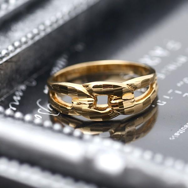 18金 リング 指輪 k18リング 18金ゴールドリング キラキラ 多面カット 鎖 デザイン K18YG 18金イエローゴールド ファッションリング|pendant|05