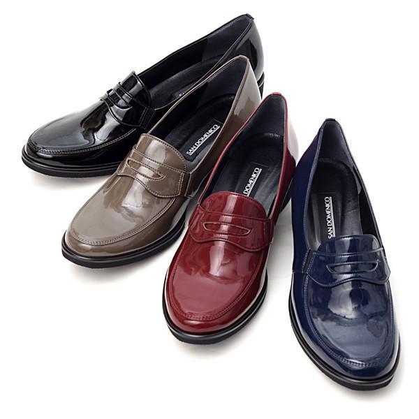 サン ドメニコ SAN DOMENICO ローファー パンプス 日本製 靴 レディース 婦人靴 エナメル調 合成皮革 3E ウェッジソール J001|pendant