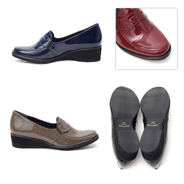 サン ドメニコ SAN DOMENICO ローファー パンプス 日本製 靴 レディース 婦人靴 エナメル調 合成皮革 3E ウェッジソール J001|pendant|04