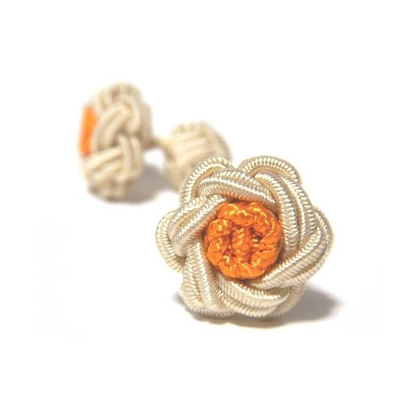 フラワーノットゴムカフス (FLOWER CUFFKNOTS ガムカフス)シャンパン×オレンジ