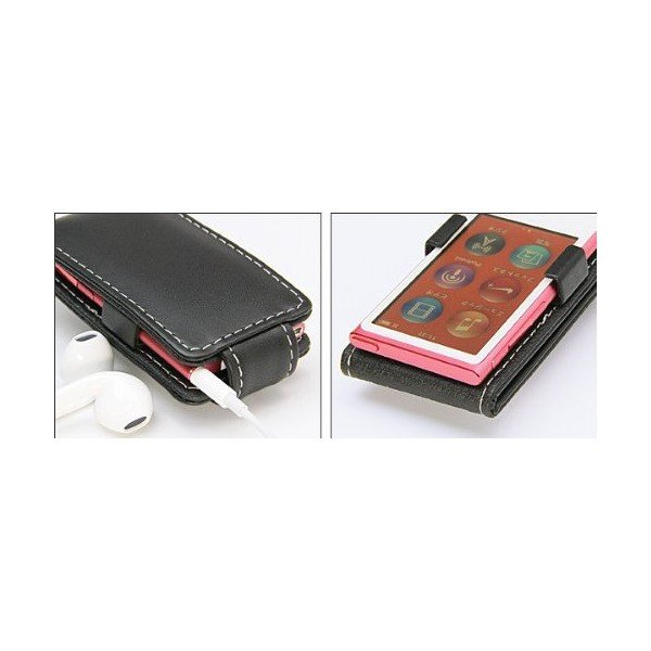 PDAIR レザーケース for iPod nano(7th gen.) 縦開きタイプ(ブラウン) PALCIPDN7F/BR