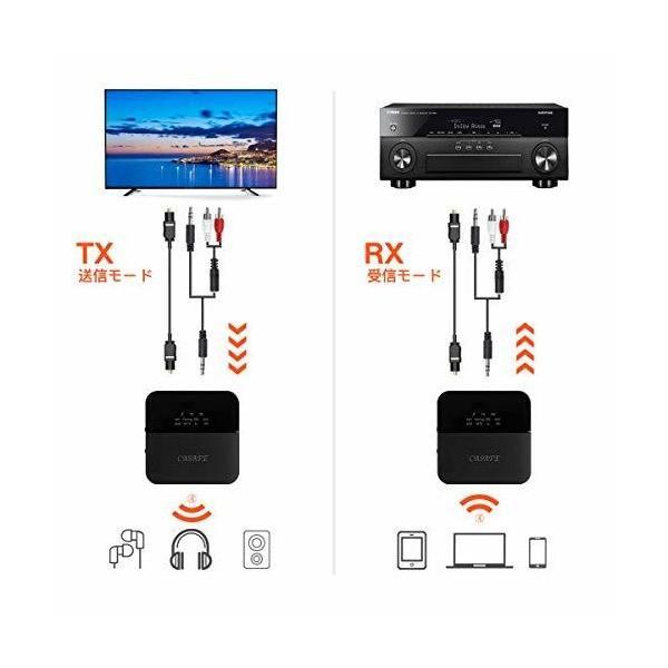 CASAFE Bluetooth 5.0 オーディオ トランスミッター レシーバー 送信機 受信機 2in1 2台同時接続 12時間連続運転 PC/
