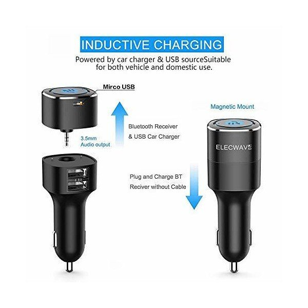 Elecwave Bluetoothレシーバー Bluetooth 4.2 カーレシーバー ワイヤレス式 カーAUXアダプター (ハンズフリー通話/