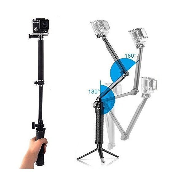 BlueBeach GoPro 対応 3Way 自撮り棒 折り畳み式 調整可能 軽量 アクションカメラ 三脚強化