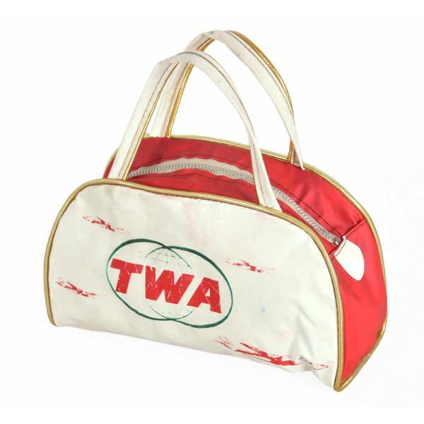 【SALE】ヴィンテージ 1960年代 / TWA トランスワールド エアラインズ / ボストンバッグタイプ キッズ用 ミニエアラインバッグ / ホワイト×レッド