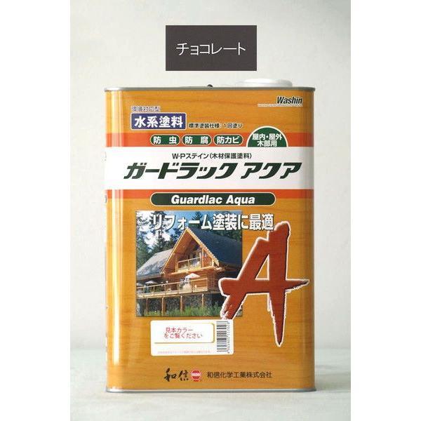 和信化学 ガードラックアクア A-5(チョコレート) 3.5Kg/缶 「ベロ付(注ぎ口)」 木部 外部 内部 ログハウス 水性 防虫 防腐 WP ワシン