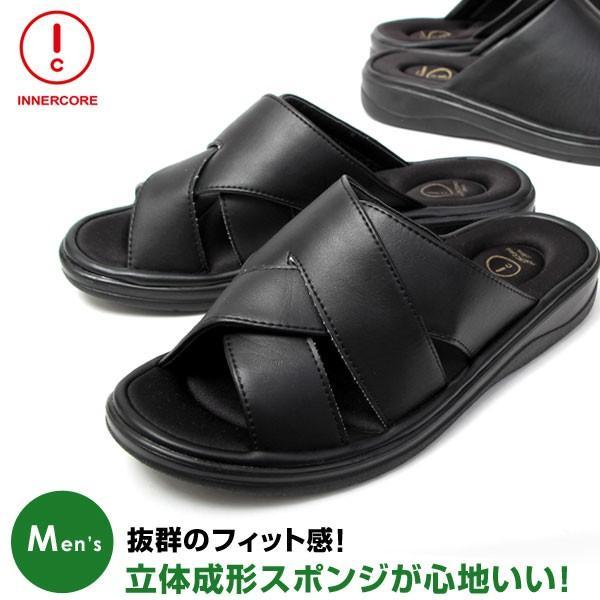 メンズ サンダル オフィスサンダル コンフォート ヒール4cm オフィス 外履き 室内履き ブラック INNERCORE インナーコア N2-29 N3-29|pennepenne