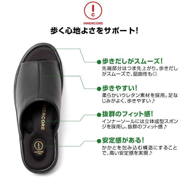 メンズ サンダル オフィスサンダル コンフォート ヒール4cm オフィス 外履き 室内履き ブラック INNERCORE インナーコア N2-29 N3-29|pennepenne|03