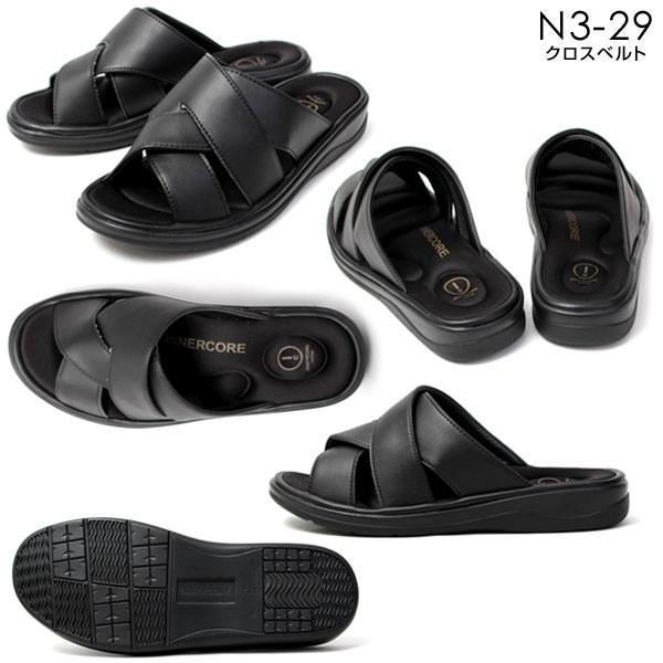 メンズ サンダル オフィスサンダル コンフォート ヒール4cm オフィス 外履き 室内履き ブラック INNERCORE インナーコア N2-29 N3-29|pennepenne|05