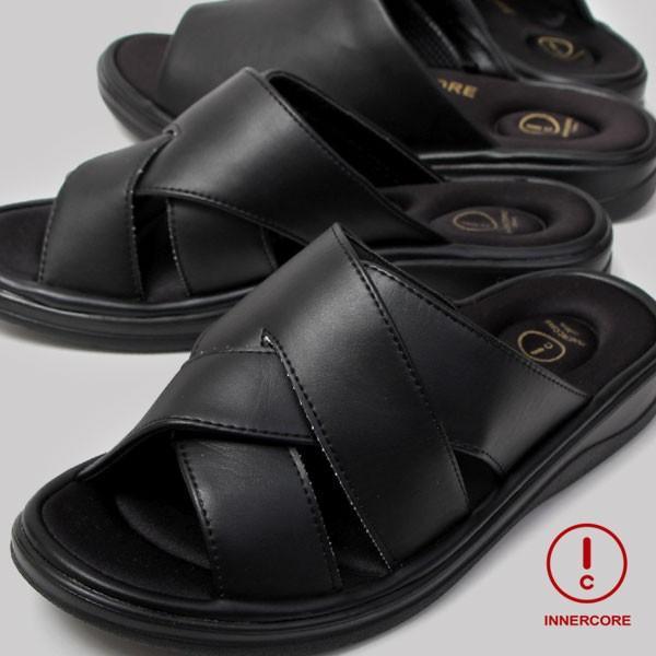 メンズ サンダル オフィスサンダル コンフォート ヒール4cm オフィス 外履き 室内履き ブラック INNERCORE インナーコア N2-29 N3-29|pennepenne|09