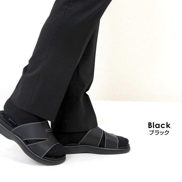 メンズ サンダル オフィスサンダル コンフォートサンダル ヘップサンダル ヒール3.5cm 外履き 室内履き オフィス M-THREE エムスリー ブラック チョコ 2040|pennepenne|06