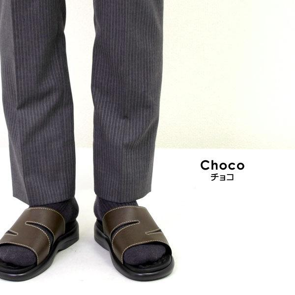 メンズ サンダル オフィスサンダル コンフォートサンダル ヘップサンダル ヒール3.5cm 外履き 室内履き オフィス M-THREE エムスリー ブラック チョコ 2040|pennepenne|07