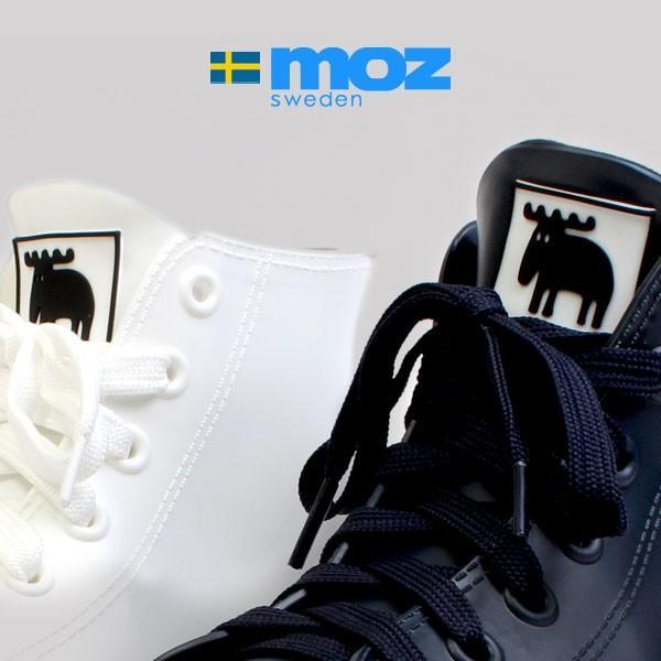 レディース 防水 スニーカー レインシューズ レインブーツ ハイカット  北欧 ヘラジカ エルク カジュアル 靴 2cmヒール ネイビー ホワイト MOZ モズ 8417|pennepenne|06