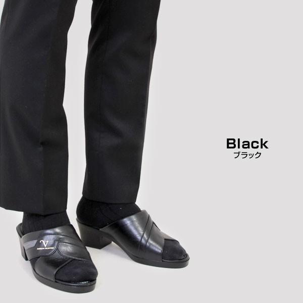 メンズ サンダル ヘップサンダル オフィスサンダル スリッパサンダル 日本製 ヒール5.5cm  オフィス ブラック RUDOLPHVALENTINO ルドルフバレンチノ 2859|pennepenne|04
