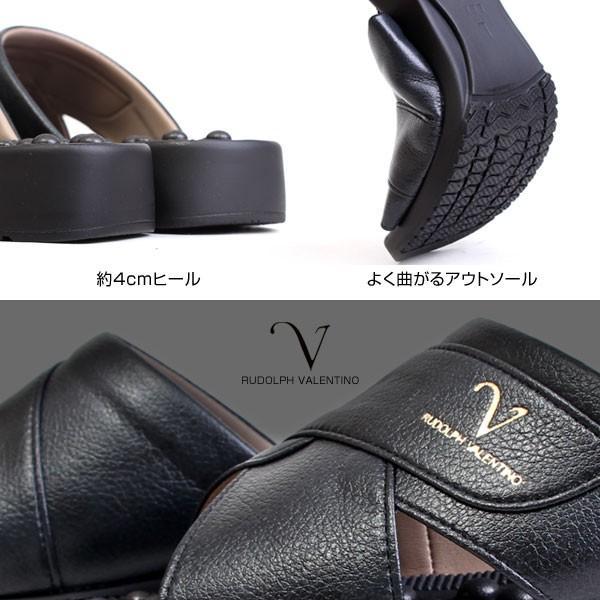 メンズ サンダル ヘップサンダル オフィスサンダル 健康サンダル 日本製 3E 前開き オフィス ヒール4cm  RUDOLPHVALENTINO ルドルフバレンチノ ブラック 2860|pennepenne|03